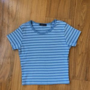 blue and white striped brandy t shirt